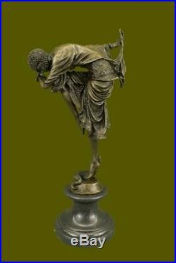 Signé Bronze Art Nouveau Déco Chiparus Statue Figurine Sculpture Art Figurine Nr