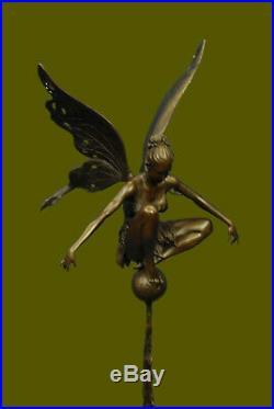 Signé Cesaro, Bronze Art Nouveau Ange Fairy Sculpture Figurine Hot Fonte Oeuvre
