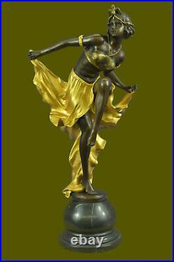 Signé Or Patine Art Déco Bronze Sculpture Par A. Gory Nouveau Marbre Figurine