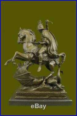 Signé Saint George Killing Dragon Bronze Sculpture Art Statue Figurine Artwork
