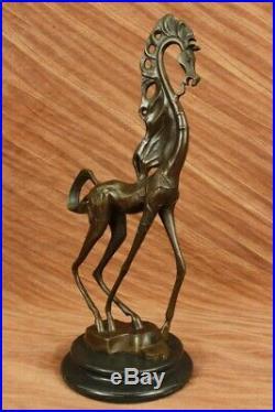 Signé Salvatore Dali Art Moderne Abstrait Cheval Bronze Sculpture Marbre Cadeau