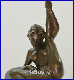 Signé Unique Bronze Sculpture Érotique Sexy Nu Femelle Forme Art Statue Figurine