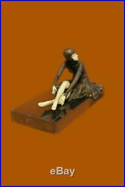 Signée Bronze Style Art Nouveau Deco Chiparus Statue Figurine Sculpture Cadeau