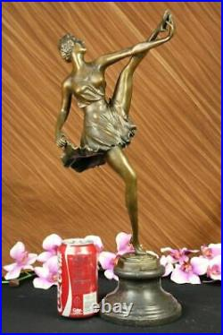 Signée Bruno Zach Haut Kick Danseuse Bronze Statue Sculpture Art Nouveau