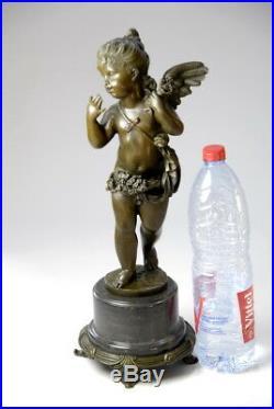 Signée E. Plat, Splendide angelot Art Nouveau en bronze