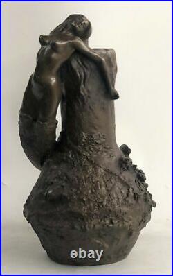 Signée Original Art Nouveau Aldo Vitaleh Sirène Vase Bronze Sculpture Figurine