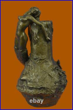 Signée Original Art Nouveau Sirène Vase Par Aldo Vitaleh Bronze Sculpture Statue