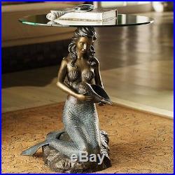 Sirène Coquillage Embout Table Nautique Art Statue Sculpture, 24'' H. Cadeau W /