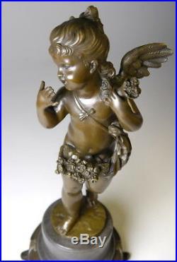 Splendide sculpture Art Nouveau en bronze signée E. Plat envoi gratuit