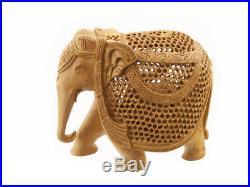 Statue Elephant Bois Sculpture Indienne D' Art De Dentelle Oeuvre Unique 3952