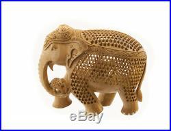 Statue Elephant Bois Sculpture Indienne D' Art De Dentelle Oeuvre Unique 7119