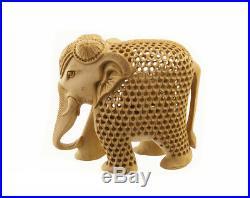 Statue Elephant Bois Sculpture Indienne D' Art De Dentelle Oeuvre Unique 7240