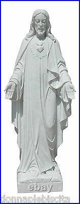 Statue Sacré Coeur de Jésus en Marbre Blanc Carrara Art Saint Sculpture