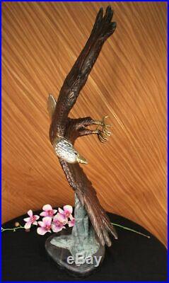 Statue Sculpture Aigle Oiseau Faune Art Déco Style Art Nouveau Style Bronze Nr