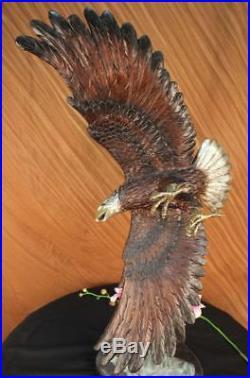 Statue Sculpture Aigle Oiseau Vie Sauvage Art Déco Style Nouveau Bronze Large