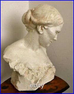 Statue Sculpture Buste Femme épreuve d'artiste pièce unique A. Finot Art Nouveau