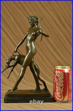 Statue Sculpture Diane Chasseresse Art Déco Style Nouveau Bronze Chaud Fonte