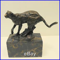 Statue Sculpture Leopard Animalier Style Art Deco Style Art Nouveau Bronze massi