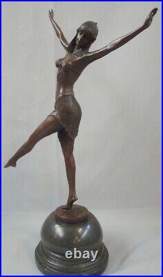 Statue Sculpture Palmyre Sexy Style Art Deco Style Art Nouveau Bronze massif Sig