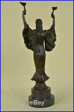 Statue Sculpture Victoire Femme Art Déco Style Nouveau Solide Bronze Nr