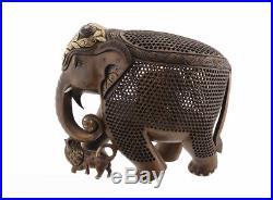 Statue elephant bois sculpture indienne d' art de dentelle oeuvre unique 6858