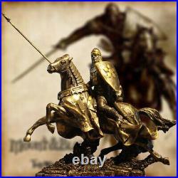 Statue statuette Antique guerrier chevalier en armure a cheval 26 cm