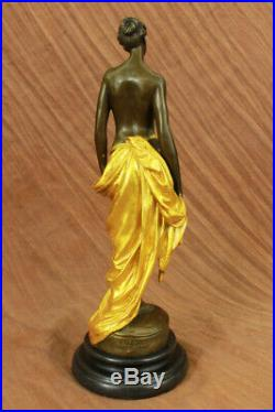Style Art Nouveau Eve Statue Dame Sirène Nu en Bronze Vénus Sculpture or Cadeau