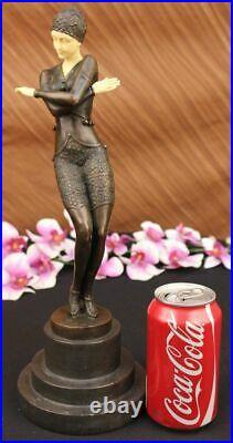 Style Art Nouveau Fonte Bronze Et Faux OS Exotique Érotique Sculpture Figurine