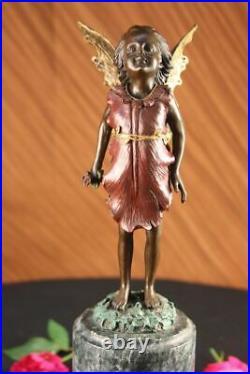 Style Art Nouveau Original Signé Milo Fairy Enfant Bronze Sculpture Statue Solde