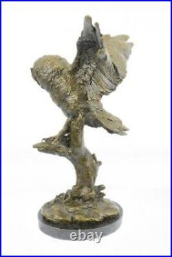 Superbe Art Déco Chouette Bronze Statue Sur Marbre Base Sculpture Figurine Solde