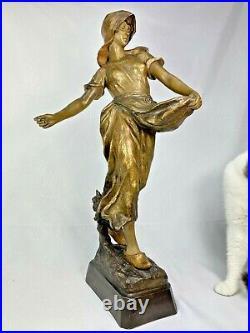 Superbe Sculpture Statue Terre Cuite Goldscheider Femme 1900 Art Nouveau Deco
