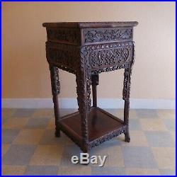 Table sculpture 1920 Art Nouveau fait main ébéniste ethnique Madagascar N3810