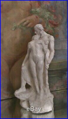 Tableau peinture et sculpture Le Baiser Ecole De Nancy Art Nouveau A. Finot