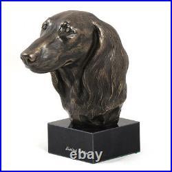 Teckel à poil long, statue miniature / buste de chien, limitée, Art Dog FR