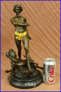 The Lion Slayer Superbe Français Bronze Sculpture Statue Art Potet Figurine