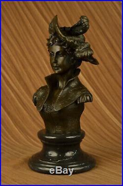 Très Joli Nu Femelle Bronze Classique Portrait Buste Sculpture Art Nouveau Large