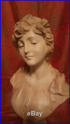 V. 1900 Buste Terre Cuite Signe Le Guluche Bohemienne Art Nouveau Sculpture