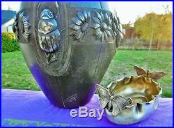 Vase ancien Scarabées Sculpture Art Nouveau Etain France Antique Vase Scarabees