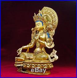 Vert Tara Statue or Fin Qualité Sculpture Bouddha Nepal Pièce Unique Art
