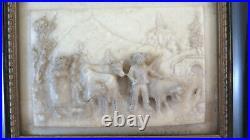 Vieille Sculpture Bas-Relief en Marbre Paysage Alpes Vaches Bergers BM39