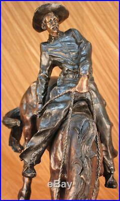 Vieux Ouest Cowboy avec Cheval Bronze Sculpture Art Remington Figurine Solde