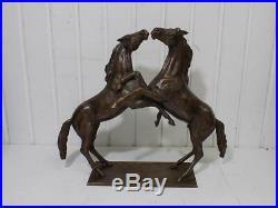 Vintage Grand Art Nouveau Sculpture en Bronze Canards Cheval C Koblischek 20. JHD