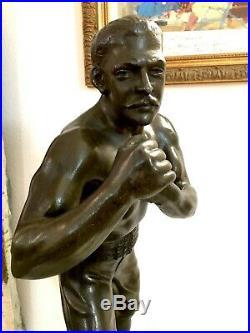 WAAGEN XIXe, grande sculpture LE LUTTEUR fin XIXe/1900, Art Nouveau Art Deco