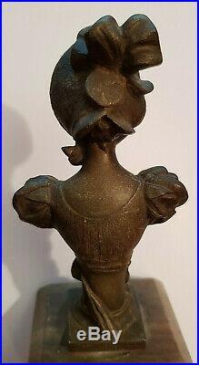 XIXe P RIGUAL Statue Buste Art Nouveau Sculpture Régul et Marbre Femme Elegante