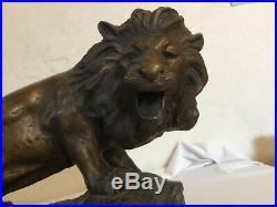 # sculptures statues en terre cuite LION furieux par Foucher patine bronze